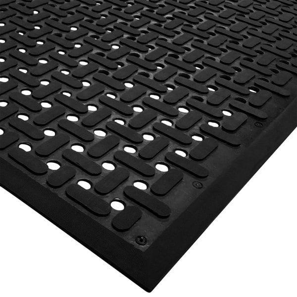 "Cactus Mat 2540-C15 VIP Guardian 3' x 15' Black Grease-Proof Anti-Fatigue Floor Mat - 1/4"" Thick"