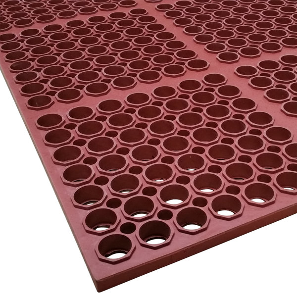 """Cactus Mat 3520-R3 VIP Floormate 29"""" x 39"""" Red Heavy-Duty Grease-Resistant Rubber Anti-Fatigue Floor Mat - 7/8"""" Thick"""
