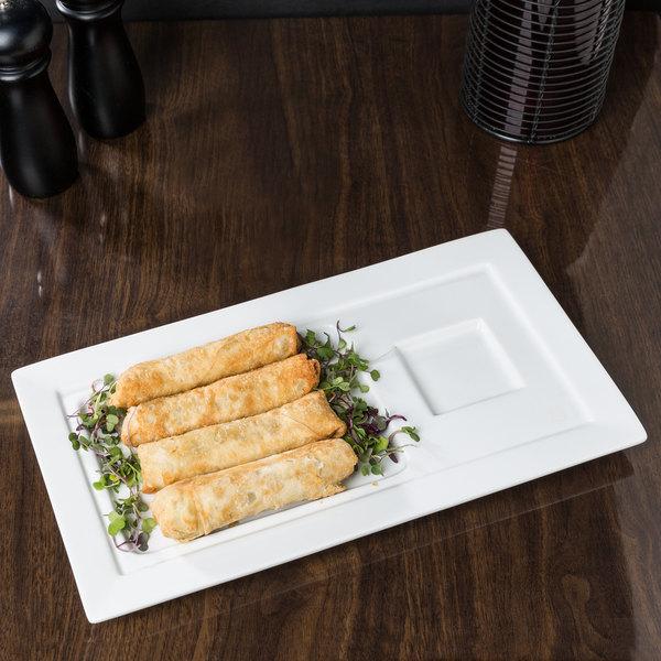 "World Tableware SL-29 Slate 14"" x 7 3/4"" Ultra Bright White Wide Rim Porcelain Soup and Sandwich Tray - 12/Case"