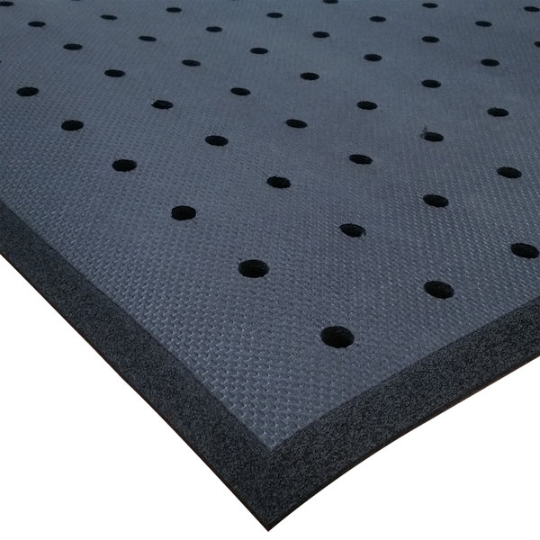 "Cactus Mat 2200R-C2H Cloud-Runner 2' x 75' Black Grease-Proof Rubber Floor Mat Roll with Drainage Holes - 3/4"" Thick"