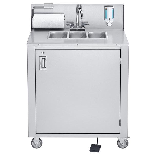 Crown Verity CVPHS-3 Triple Bowl Portable Hand Sink Cart Main Image 1
