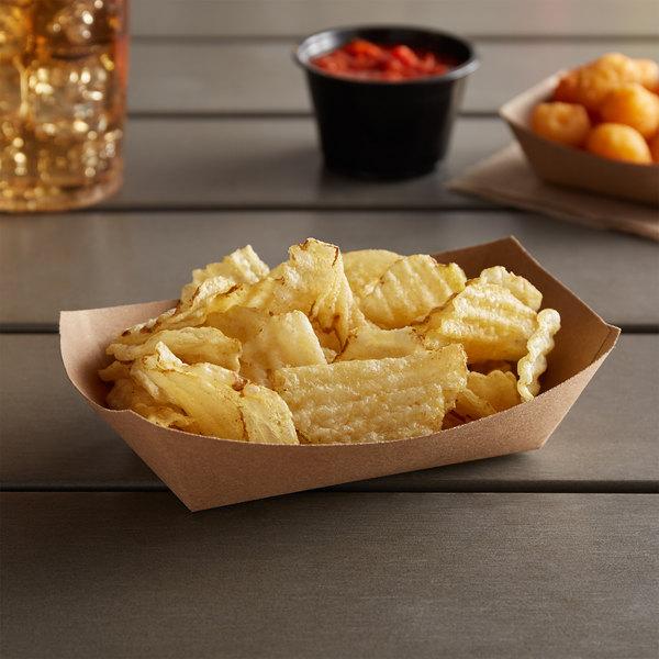 Customizable #100 1 lb. Natural Eco-Kraft Paper Food Tray - 1000/Case Main Image 2