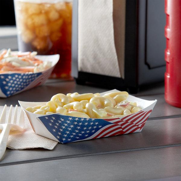 #40 6 oz. USA Flag Paper Food Tray - 1000/Case