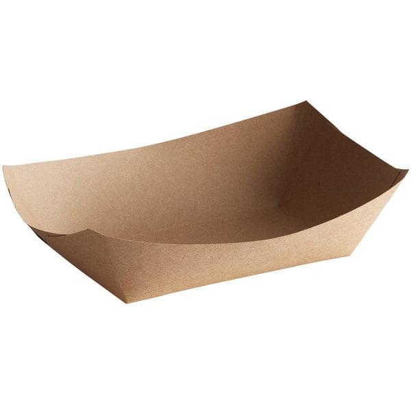 #300 3 lb. Natural Eco-Kraft Paper Food Tray - 500/Case