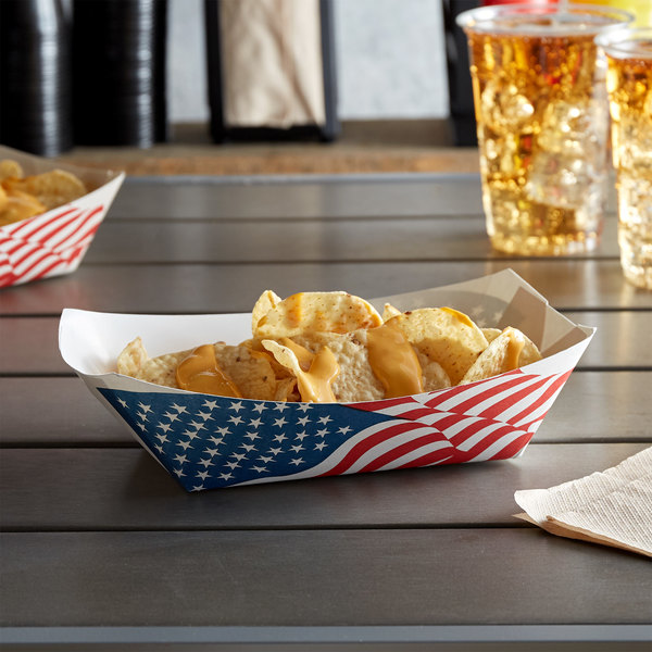 #300 3 Ib. USA Flag Paper Food Tray - 500/Case