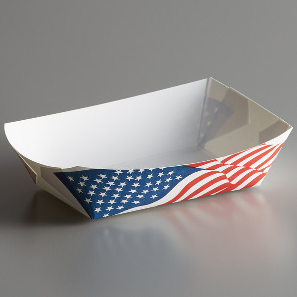 #200 2 lb  USA Flag Paper Food Tray - 1000/Case