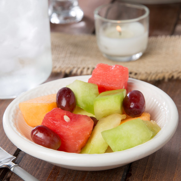 4.5 oz. Ivory (American White) Embossed Rim China Fruit / Monkey Dish - 36/Case Main Image 5