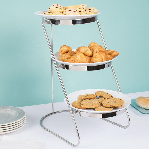 "GET MTS029/2075W-SET 3-Tier Cascading Display Stand Set with 10 1/2"" White Round Melamine Plates"