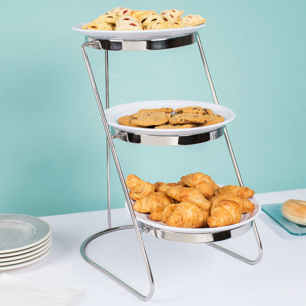 """GET MTS029/ML82W-SET 3-Tier Cascading Display Stand Set with 10 1/4"""" White Round Ribbed Melamine Plates"""