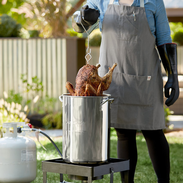 Backyard Pro 30 Qt. Stainless Steel Stock Pot / Turkey Fry Pot with Lid and Accessories Main Image 2