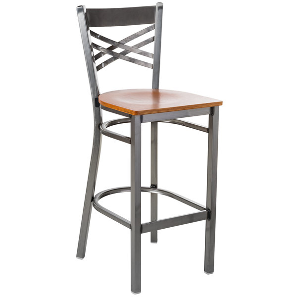 Preassembled Lancaster Table & Seating Clear Coat Steel Cross Back Bar Height Chair with Cherry Wood Seat