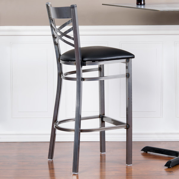 """Lancaster Table & Seating Clear Coat Steel Cross Back Bar Height Chair with 2 1/2"""" Black Padded Seat"""