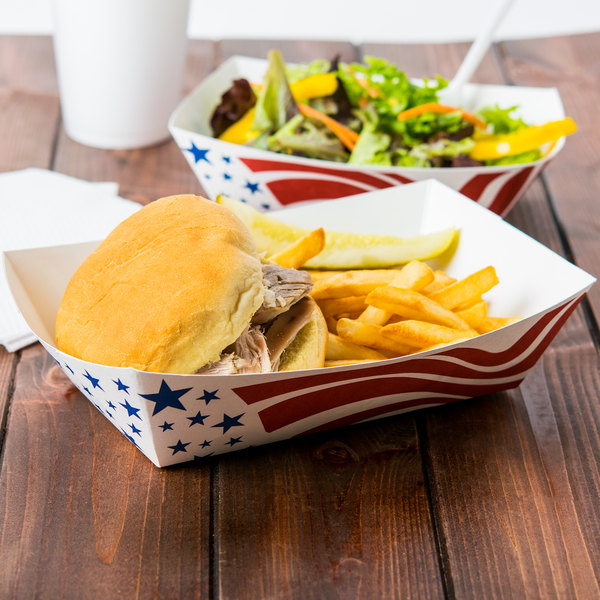 Southern Champion 0537 #500 5 lb. USA Flag Paper Food Tray - 250/Pack