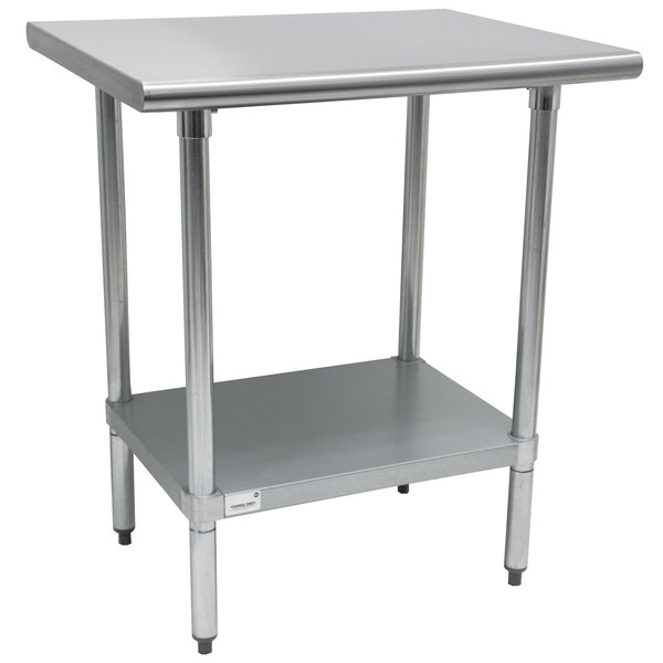 """Advance Tabco AG-363 36"""" x 36"""" 16 Gauge Stainless Steel Work Table with Galvanized Undershelf"""