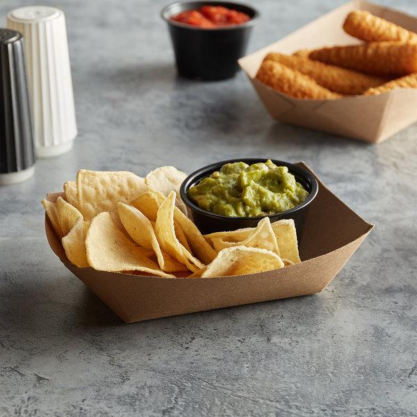 #200 2 lb. Natural Eco-Kraft Paper Food Tray - 250/Pack Main Image 2