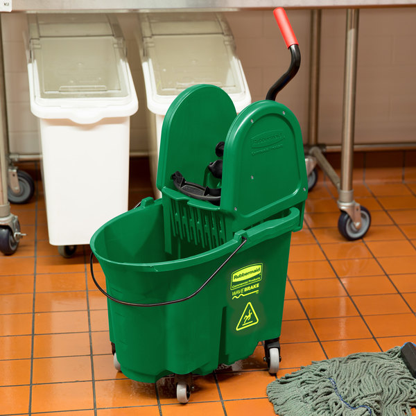 Rubbermaid FG757888GRN WaveBrake® 35 Qt. Green Mop Bucket with Down Press Wringer