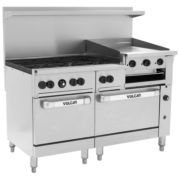 Fine Vulcan 60Ss 6B24Gbn Endurance 6 Burner 60 Natural Gas Range With Griddle Broiler And Standard Oven Base 268 000 Btu Home Interior And Landscaping Ponolsignezvosmurscom