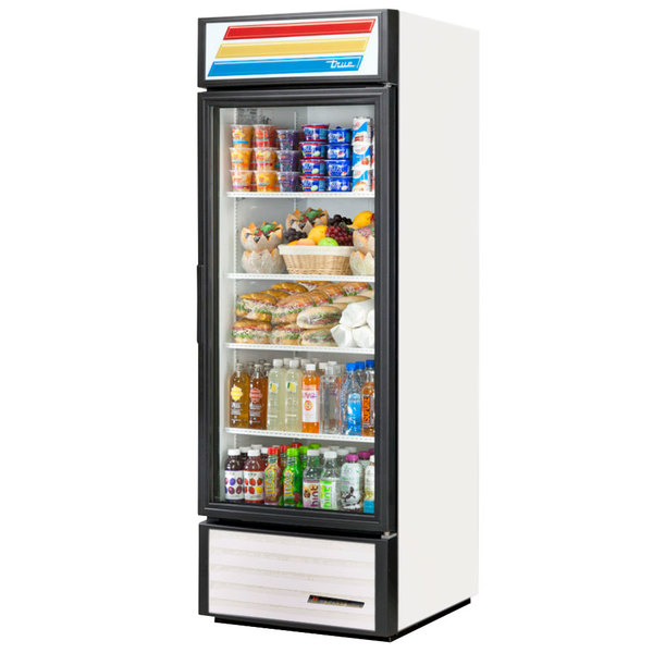 True GDM-23-LD White Glass Door Refrigerated Merchandiser with LED Lighting