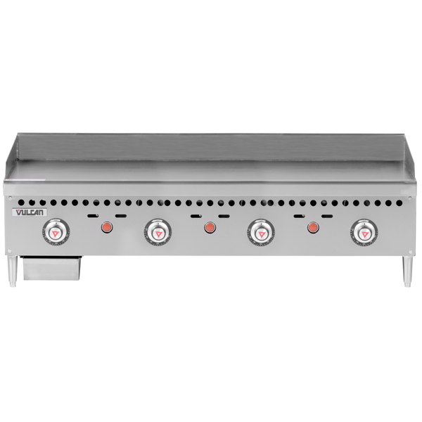 """Vulcan VCRG48-T1 Natural Gas 48"""" Countertop Griddle with Snap-Action Thermostatic Controls - 100,000 BTU"""