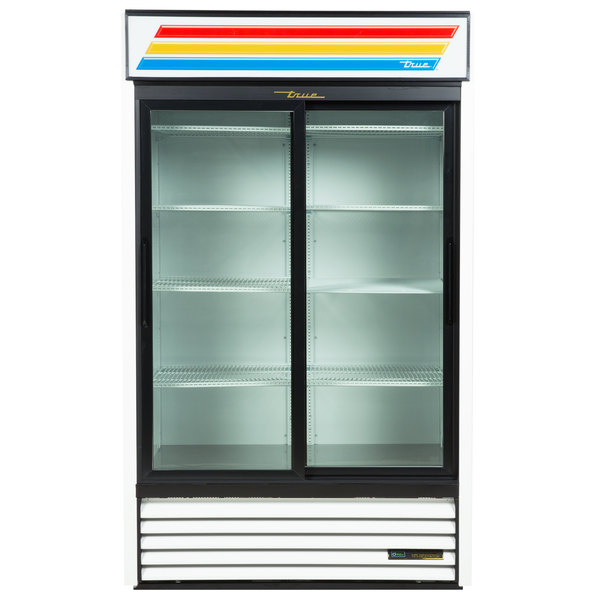 True GDM-41-LD WH 47 inch White Refrigerated Sliding Glass Door Merchandiser with LED Lighting