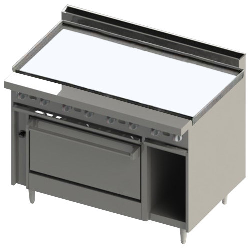 "Blodgett BR-48G-36C 48"" Manual Liquid Propane Range with Griddle Top and Convection Oven Base - 126,000 BTU Main Image 1"