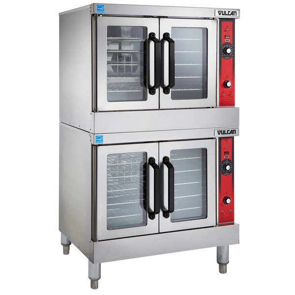 Vulcan VC44GD NAT Natural Gas Double Deck Full Size Gas Convection Oven With Solid State Controls 100 000 BTU
