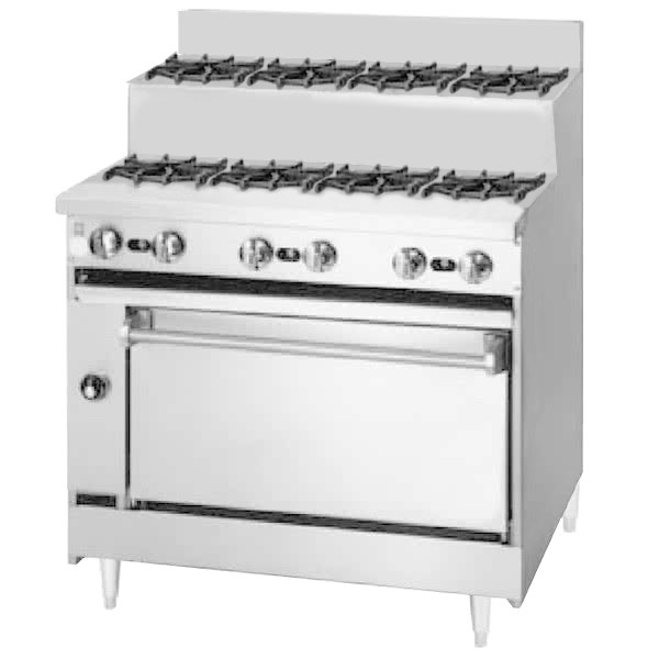 "Blodgett BRE-4-4-36C 8 Burner 36"" Step-Up Liquid Propane Range with Convection Oven Base - 150,000 BTU Main Image 1"