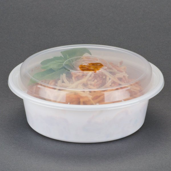 "Newspring NC-729 32 oz. White 7"" VERSAtainer Round Microwavable Container with Lid - 150/Case"