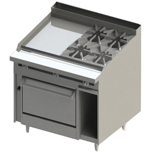 "Blodgett BR-24GT-4-36C 4 Burner 48"" Thermostatic Natural Gas Range with Left Side 24"" Griddle and Convection Oven Base - 198,000 BTU"