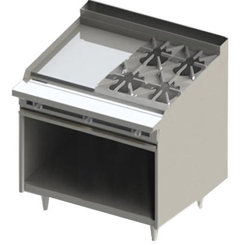 "Blodgett BR-24G-4 4 Burner 48"" Manual Natural Gas Range with Left Side 24"" Griddle and Cabinet Base - 168,000 BTU"