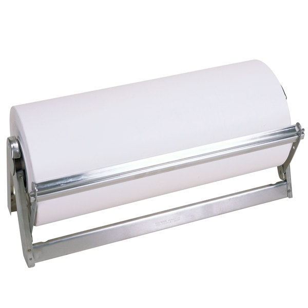 """Bulman A503-18 Standard 18"""" Stainless Steel All-In-One Counter Mount / Freestanding Paper Dispenser / Cutter with Serrated Blade Main Image 1"""