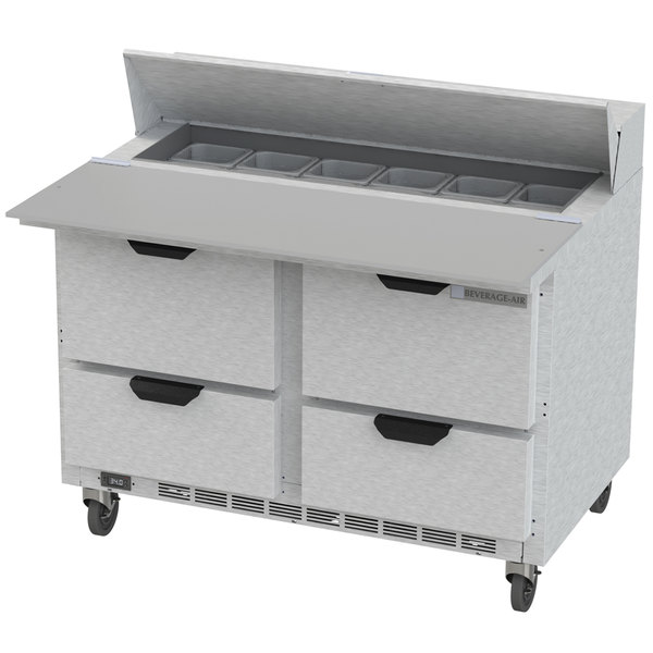 """Beverage-Air SPED48HC-12C-4 Elite Series 48"""" 4 Drawer Cutting Top Refrigerated Sandwich Prep Table with 17"""" Deep Cutting Board"""