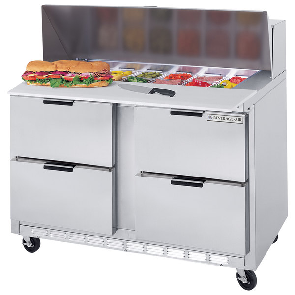 """Beverage Air SPED48-12C-4 48"""" 4 Drawer Cutting Top Refrigerated Sandwich Prep Table with 17"""" Wide Cutting Board"""