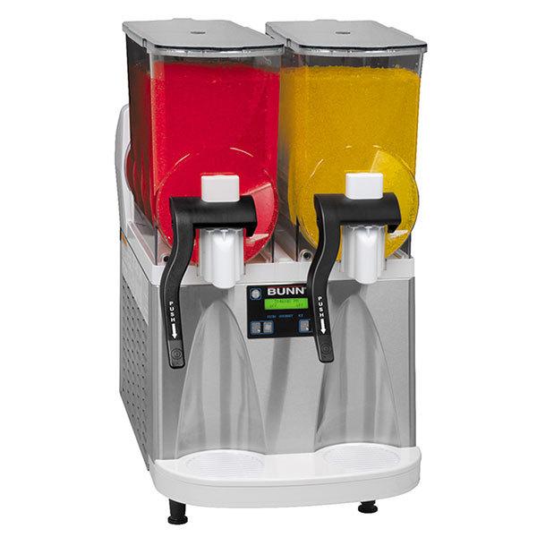 Bunn 34000.0012 Ultra-2 HP White and Stainless Steel Double 3 Gallon Pourover Slushy / Granita Frozen Drink Machine - 120V