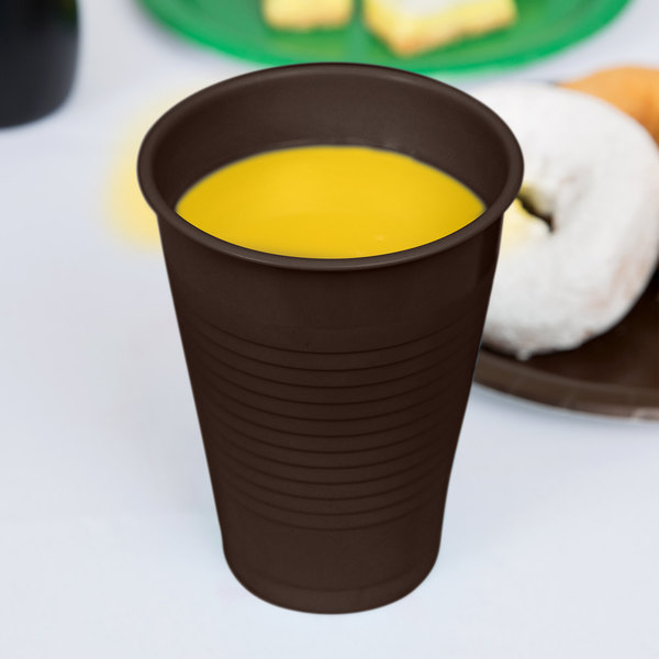 Creative Converting 28303881 16 oz. Chocolate Brown Plastic Cup - 240/Case