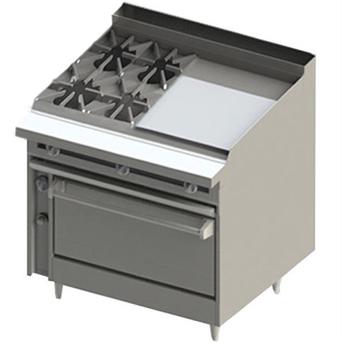"Blodgett BR-4-24GT-36 4 Burner 48"" Thermostatic Liquid Propane Range with Right Side 24"" Griddle and Standard Oven Base - 198,000 BTU"