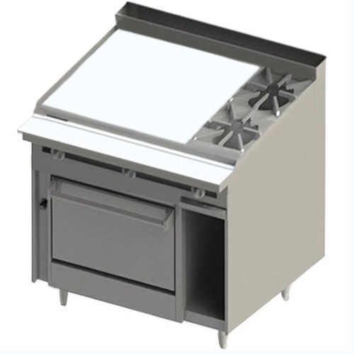 "Blodgett BR-36GT-2-36C 2 Burner 48"" Thermostatic Liquid Propane Range with Left Side 36"" Griddle and Convection Oven Base - 162,000 BTU Main Image 1"