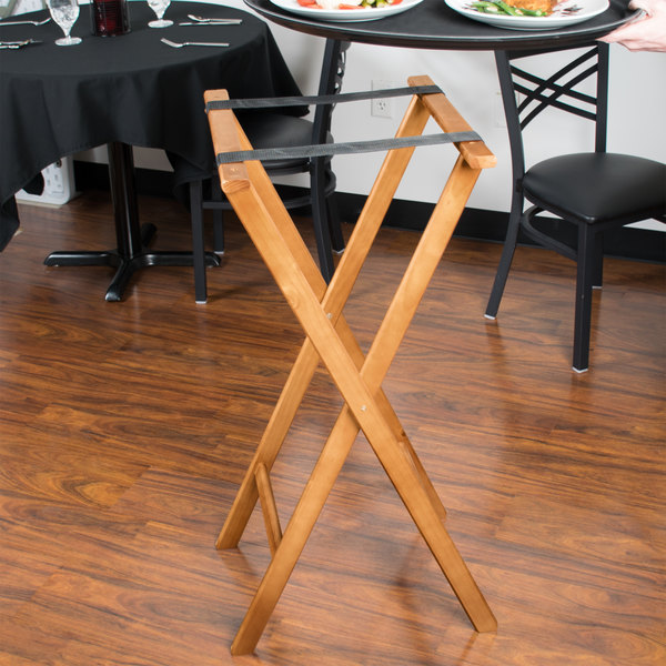 "Lancaster Table & Seating 38"" Folding Wood Tray Stand Light Brown"