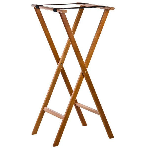 Lancaster Table & Seating 38 inch Folding Wood Tray Stand Light Brown