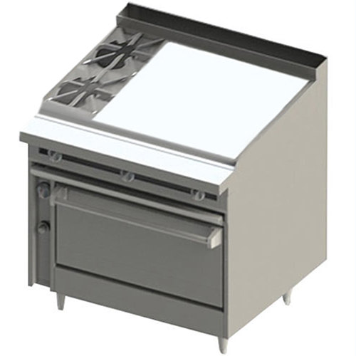 """Blodgett BR-2-36GT-36 2 Burner 48"""" Thermostatic Liquid Propane Range with Right Side 36"""" Griddle and Oven Base - 162,000 BTU Main Image 1"""