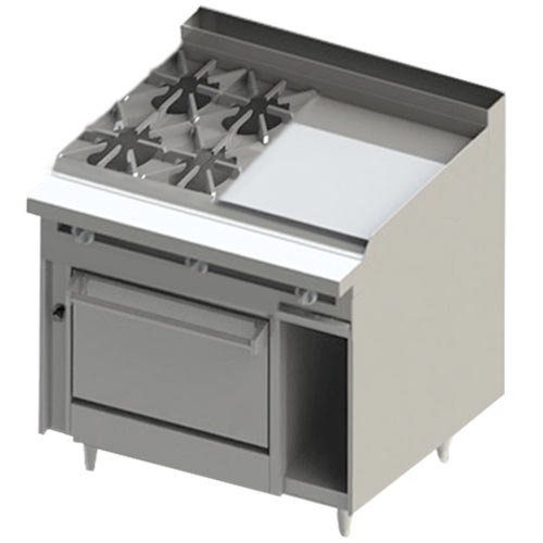 "Blodgett BR-4-24GT-36C 4 Burner 48"" Thermostatic Natural Gas Range with Right Side 24"" Griddle and Convection Oven Base - 198,000 BTU"