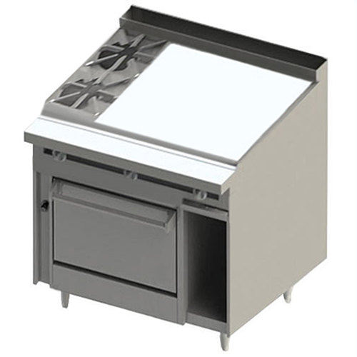 """Blodgett BR-2-36GT-36C 2 Burner 48"""" Thermostatic Liquid Propane Range with Right Side 36"""" Griddle and Convection Oven Base - 162,000 BTU Main Image 1"""