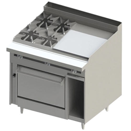 "Blodgett BR-4-24GT-36C 4 Burner 48"" Thermostatic Liquid Propane Range with Right Side 24"" Griddle and Convection Oven Base - 198,000 BTU Main Image 1"