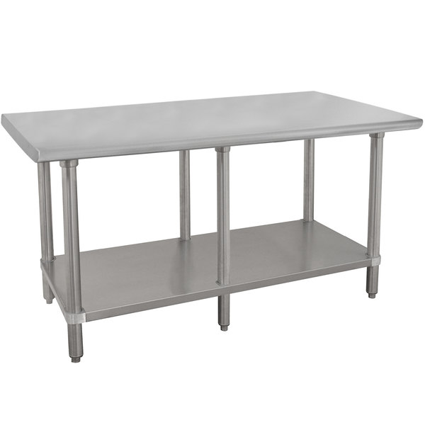"Advance Tabco VSS-2411 24"" x 132"" 14 Gauge Stainless Steel Work Table with Stainless Steel Undershelf"