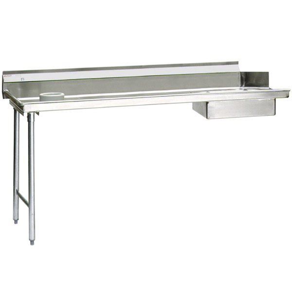 "Eagle Group SDTL-60-16/3-X 60"" Left Side 16 Gauge 304 Series Stainless Steel Soil Dish Table with Scrap Block"