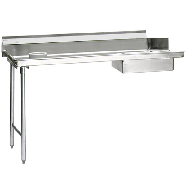 "Eagle Group SDTL-48-16/3 48"" Left Side 16 Gauge 304 Series Stainless Steel Soil Dish Table with Scrap Block"