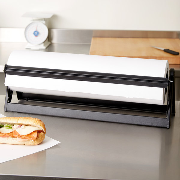 """Bulman A501-24MB Standard 24"""" Black All-In-One Counter Mount / Freestanding Paper Dispenser / Cutter with Serrated Blade"""