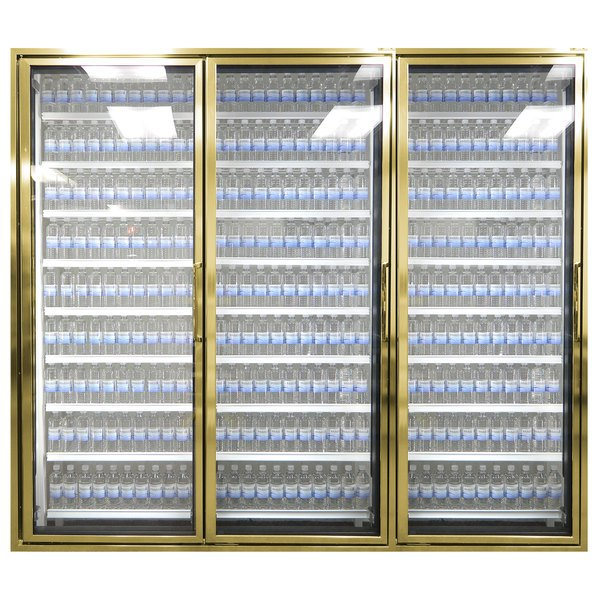 "Styleline CL2472-NT Classic Plus 24"" x 72"" Walk-In Cooler Merchandiser Doors with Shelving - Anodized Bright Gold, Left Hinge - 3/Set"