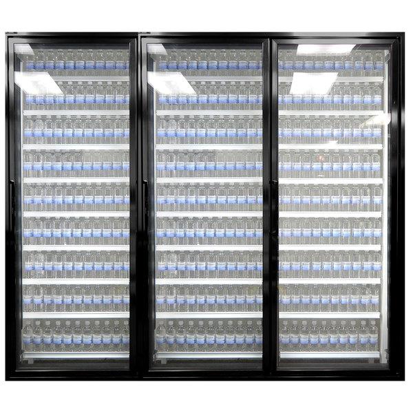 "Styleline CL2472-NT Classic Plus 24"" x 72"" Walk-In Cooler Merchandiser Doors with Shelving - Satin Black, Right Hinge - 3/Set"