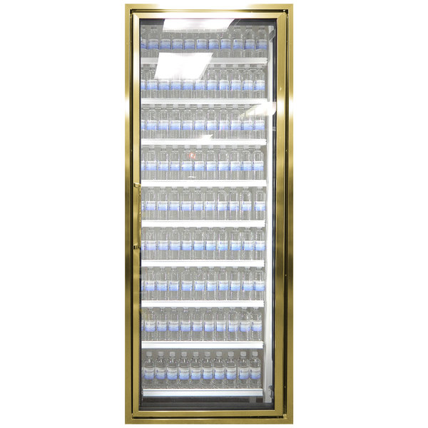 """Styleline CL2472-NT Classic Plus 24"""" x 72"""" Walk-In Cooler Merchandiser Door with Shelving - Anodized Bright Gold, Right Hinge"""